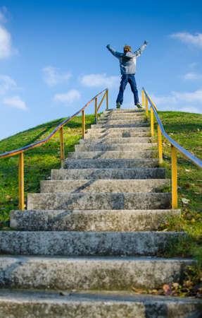 nesnel: Başarı Merdivenler Stok Fotoğraf