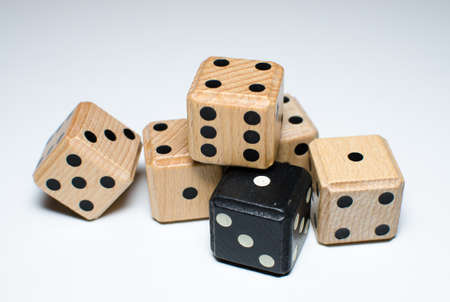 pile of white and black wooden dice
