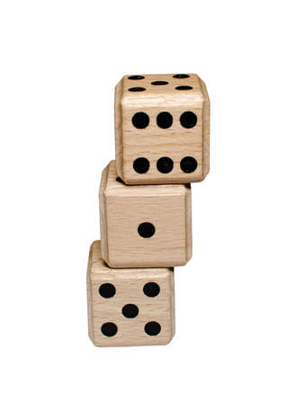 awry: isolated leaning stack of wooden dice