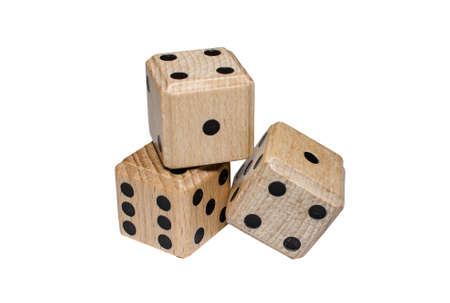isolated pile of three wooden dice Stock Photo