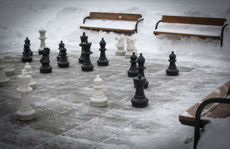 outdoor chess in snowy winter