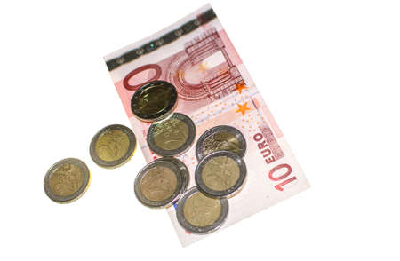 isolated euro coins and notes