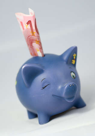 blue piggy bank with euro note