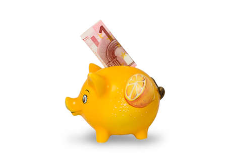 orange piggy bank with euro note photo