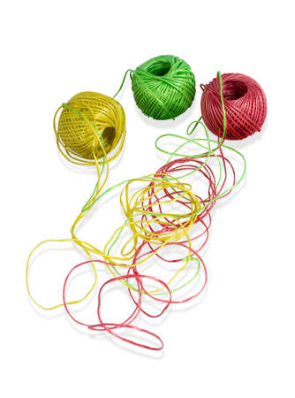 network of colorful balls of wool