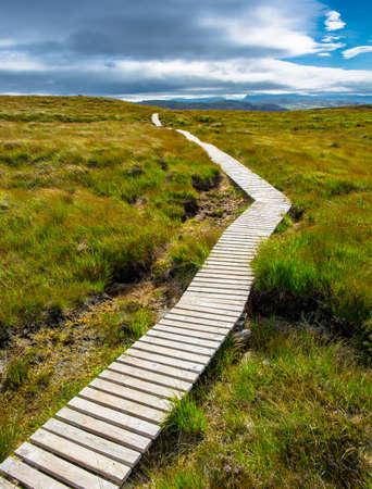 Narrow path up a hill toward the cloudy sky photo