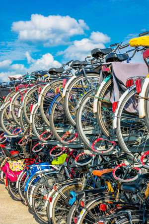 Bicycles in a parking rack