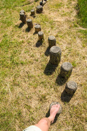 Steps in a wooden balance course
