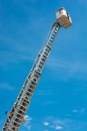 High Ladder with Rescue Basket Stock Photo