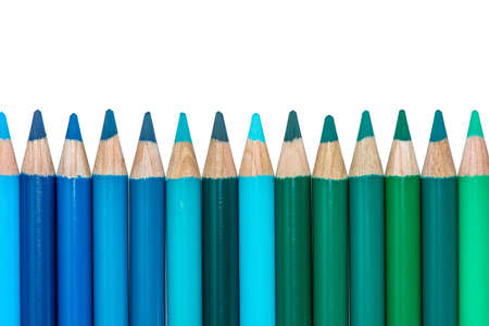 Row with Blue and Green Colored Crayons photo