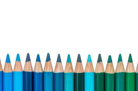 Row con blu e verde colorati Pastelli