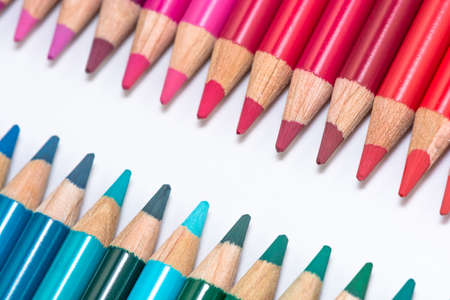Two Opposite Rows with Colorful Crayons photo
