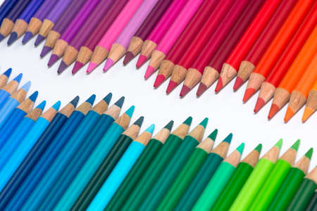 Opposite Waves with Colorful Crayons photo