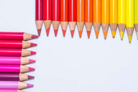 Rows with Colorful Crayons photo