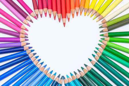 Heart made of Colorful Crayons photo