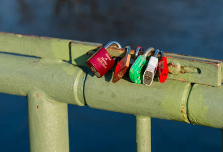 padlocks: Love Padlocks On Banister