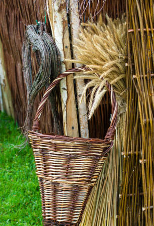 osier: Wicker Basket And Corn Stock Photo