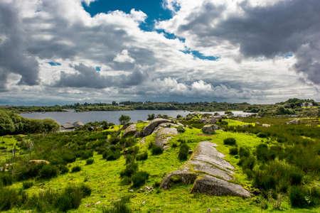 connemara: Pasture near Lake in Connemara in Ireland