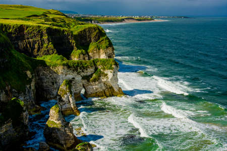 Cliffs near Portrush in Northern Ireland 스톡 콘텐츠