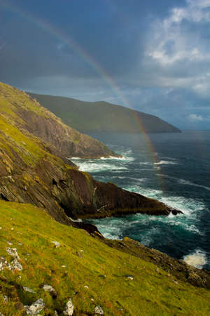 blasket islands: Rainbow At The Coast Of Slea Head In Ireland