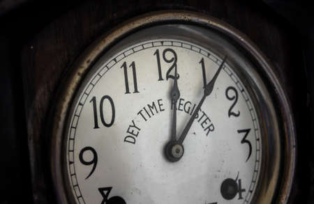 five to twelve: Five minutes past twelve on a Vintage Clock