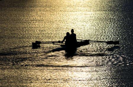 Female Rowers on Sunset Lake