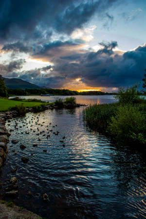 lough: Sunset at Lough Leane in Killarney National Park in Ireland