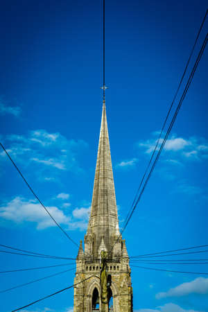 church steeple: Church Steeple with Electrical Wires