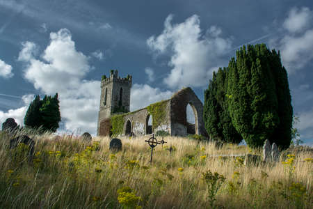 Old Church Ruin with Graveyard in Ireland Stock Photo