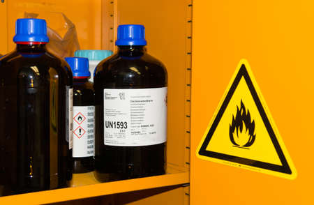 flammable: Flammable Chemicals in Protection Cabinet