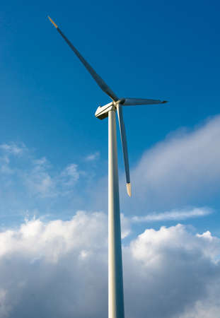 Wind turbine and cloudy sky