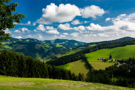 Landscape with green hills Styria in Austria