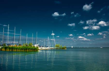 Harbor and Sail Boats at Lake Balaton in Hungary