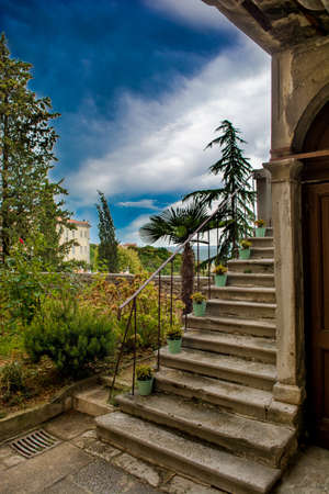 Stairs and Garden of an Old House in Labin in Croatia