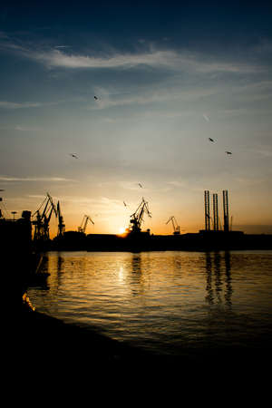 Cranes at Sunset in Harbor of Pula in Croatia