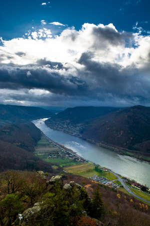 Valley of River Danube With Ship Stock Photo