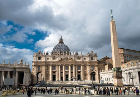 St. Peter's Square and St. Peter's Basilica at Vatican Rome in Italy