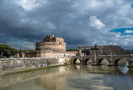 Castel Sant Angelo at River Tiber in Rome in Italy