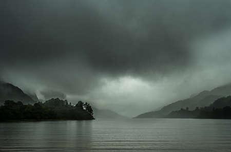 Loch Shiel With Dark Clouds And Rainy Weather Near Glenfinnan In Scotland Reklamní fotografie