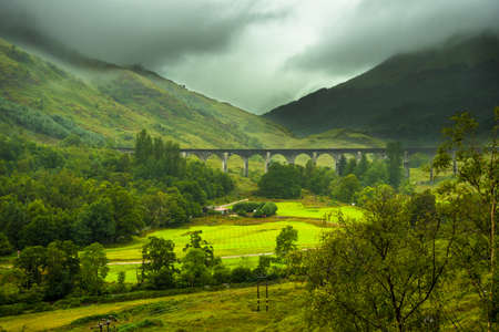 Glenfinnan Railway Viaduct At Loch Shiel In Scotland