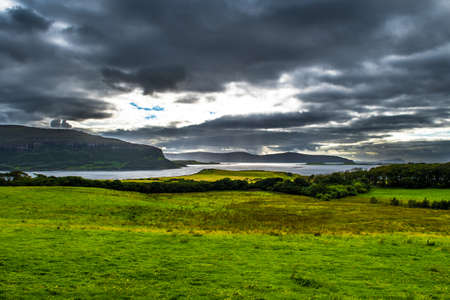 Cloudy Sky With Sunbeams At The Spectacular Cost Of The Isle Of Skye In Scotland