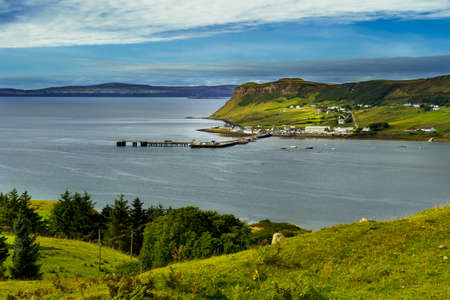 Harbor Of The Village Uig At The Coast Of The Isle Of Skye In Scotland Reklamní fotografie