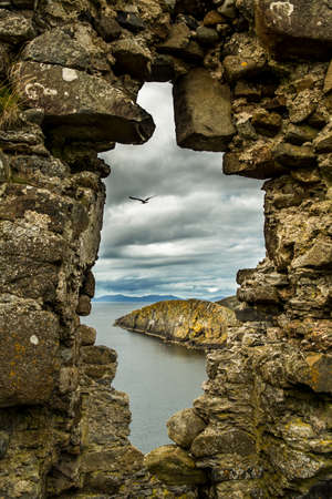 Scenic View Through Stone Window At Duntulm Castle At The Coast Of The Isle Of Skye In Scotland Stok Fotoğraf
