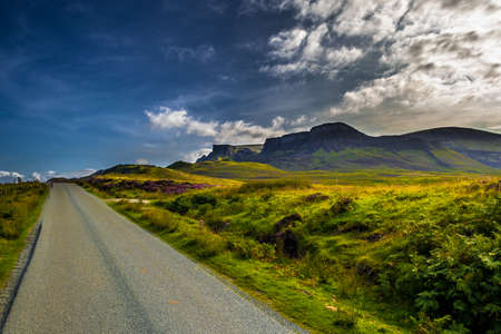 Abandoned Single Track Road Through The Scenic Rural Landscape At The Old Man Of Storr On The Isle Of Skye In Scotland