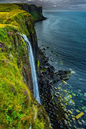 Spectacular Waterfall Of Kilt Rock On The Isle Of Skye In Scotland