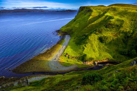 Spectacular Coastal Landscape With Valley And Small River On The Isle Of Skye In Scotland 写真素材
