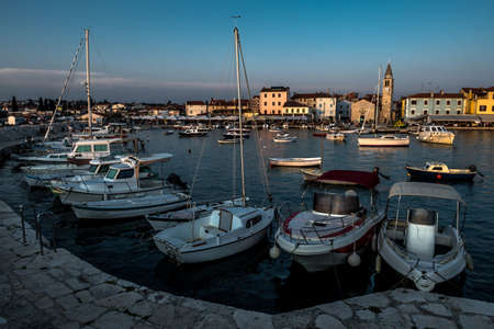 Picturesque Village Fazana In Croatia With Old Church And Boats In Harbor