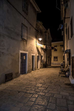 Narrow Alley With Old Houses In The Village Fazana In Croatia Redakční