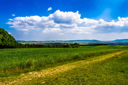 Rural Landscape With Sunlit Clouds In Front Of The Skyline Of Vienna In Austria