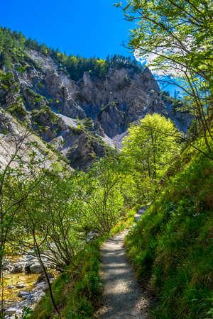 Hiking Trail Beneath Wild Mountain River In Ötschergräben in Austria